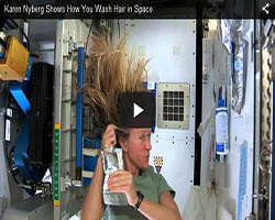 Washing-hair-in-space