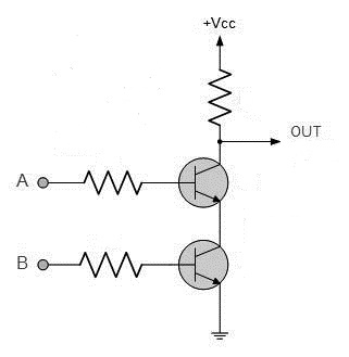 Circuit diagram of a NAND gate using transistors and resistors photo