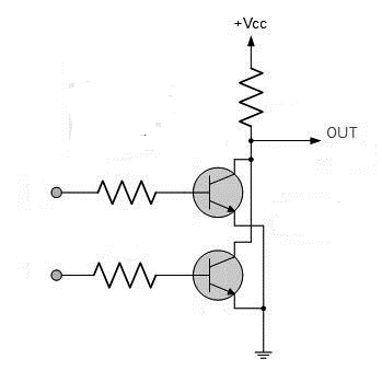Circuit diagram of a NOR gate using transistors and resistors photo
